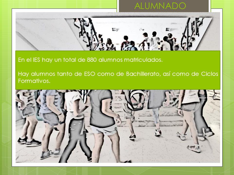 ALUMNADO En el IES hay un total de 880 alumnos matriculados.