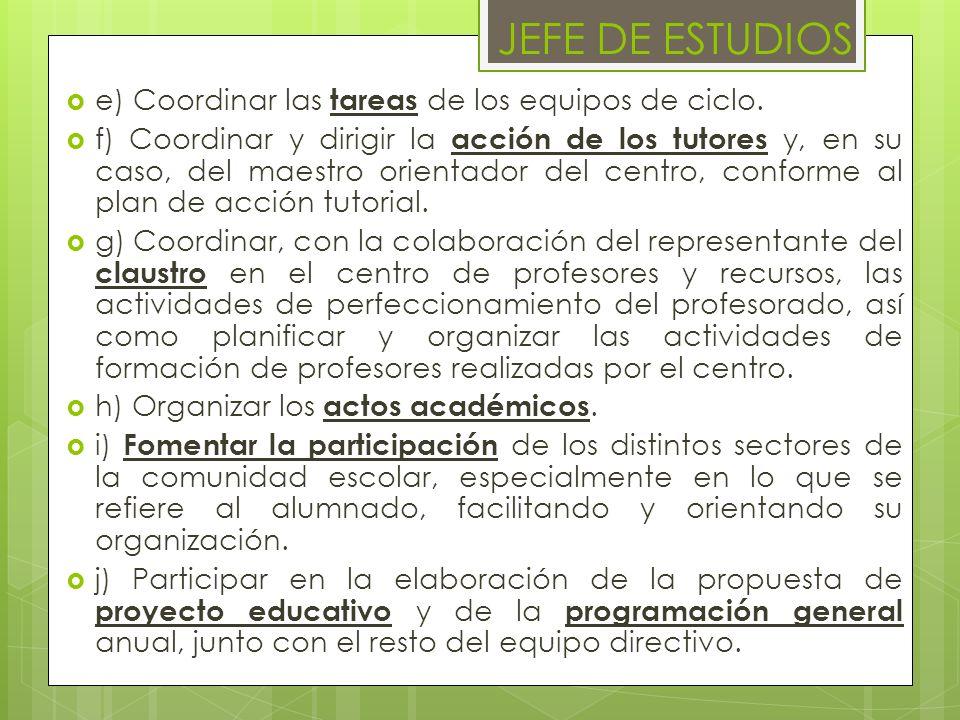 JEFE DE ESTUDIOS e) Coordinar las tareas de los equipos de ciclo.
