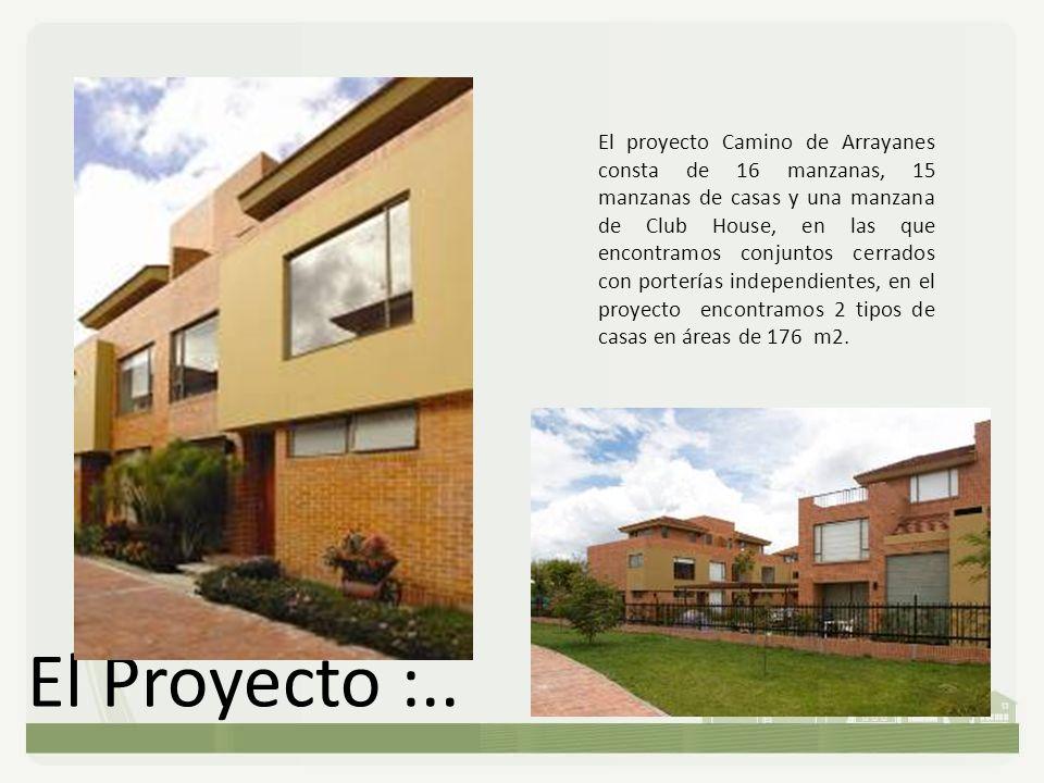El proyecto Camino de Arrayanes consta de 16 manzanas, 15 manzanas de casas y una manzana de Club House, en las que encontramos conjuntos cerrados con porterías independientes, en el proyecto encontramos 2 tipos de casas en áreas de 176 m2.