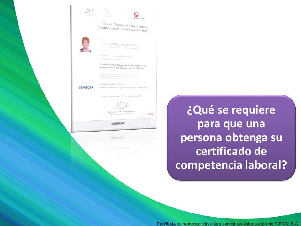 ¿Qué se requiere para que una persona obtenga su certificado de competencia laboral