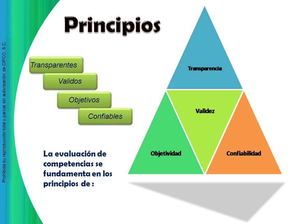 Principios Transparentes. Validos. Objetivos. Confiables.