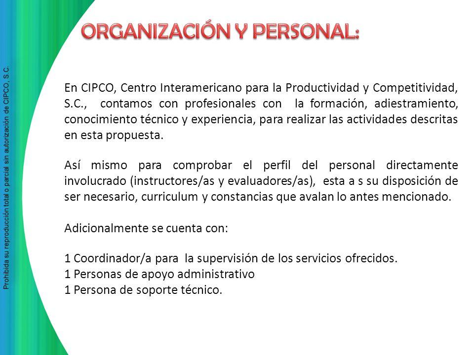 ORGANIZACIÓN Y PERSONAL: