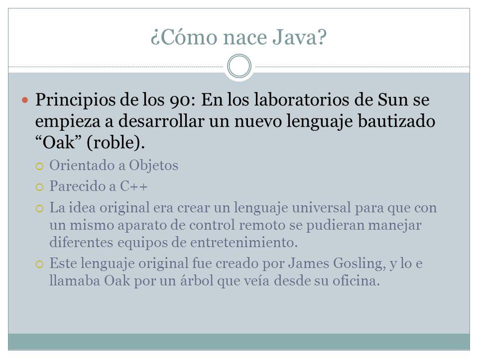 ¿Cómo nace Java Principios de los 90: En los laboratorios de Sun se empieza a desarrollar un nuevo lenguaje bautizado Oak (roble).