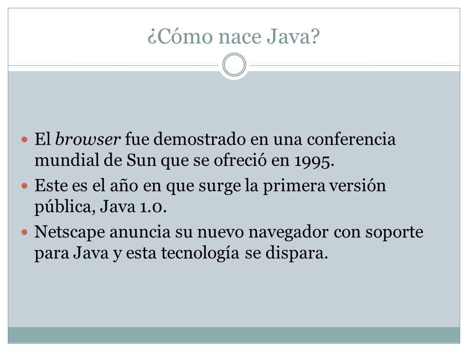 ¿Cómo nace Java El browser fue demostrado en una conferencia mundial de Sun que se ofreció en 1995.