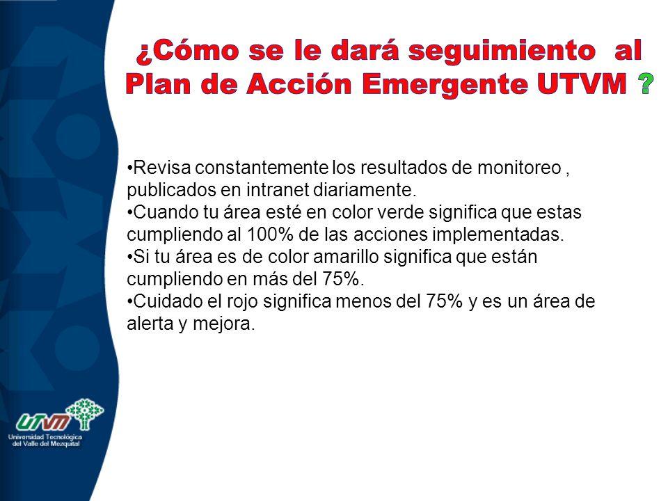 ¿Cómo se le dará seguimiento al Plan de Acción Emergente UTVM