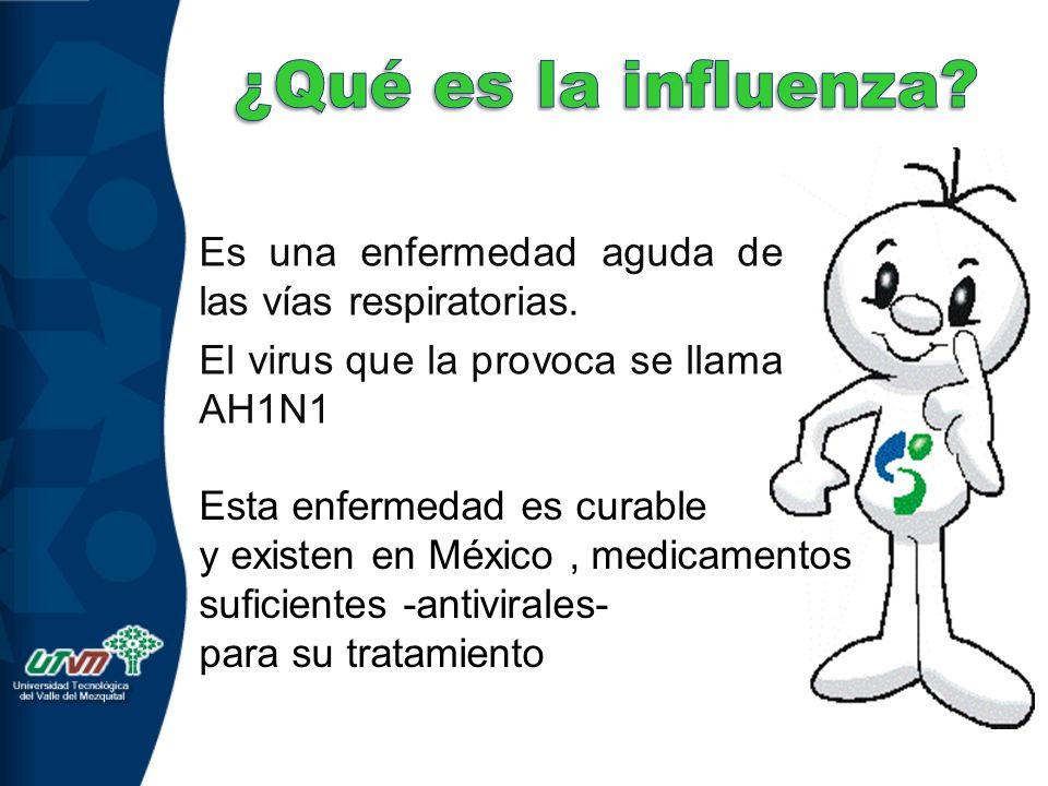 ¿Qué es la influenza Es una enfermedad aguda de las vías respiratorias. El virus que la provoca se llama AH1N1.