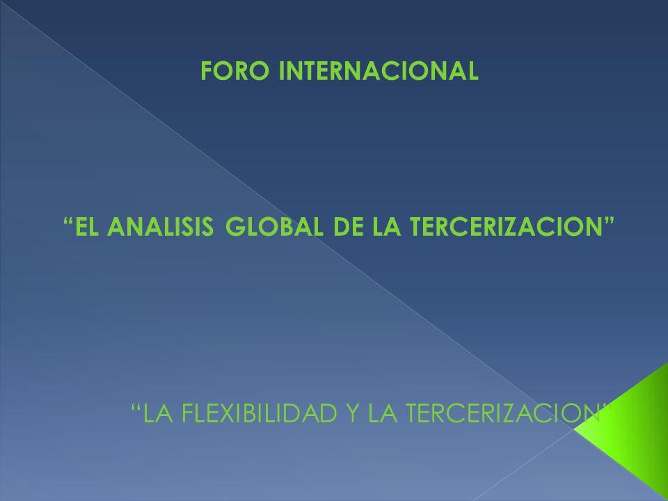 EL ANALISIS GLOBAL DE LA TERCERIZACION