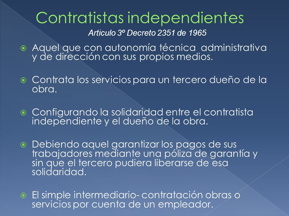 Contratistas independientes