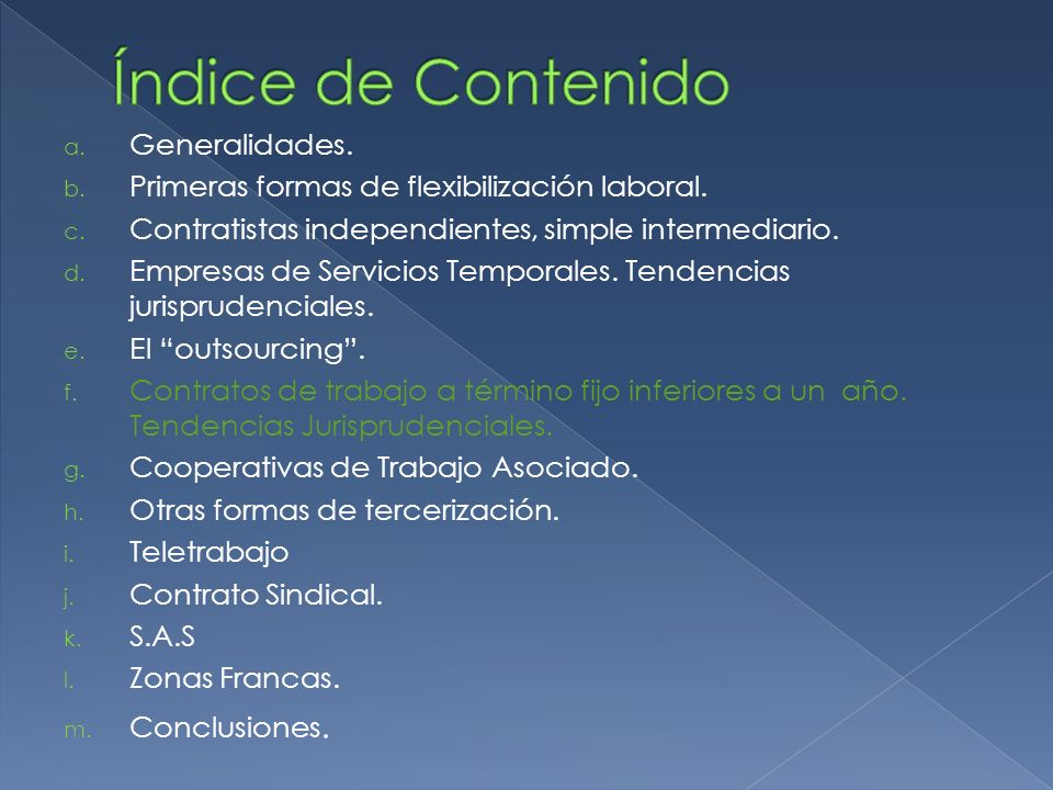 Índice de Contenido Generalidades.