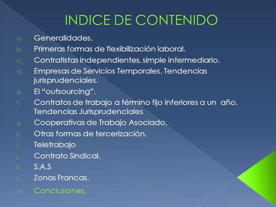 INDICE DE CONTENIDO Generalidades.