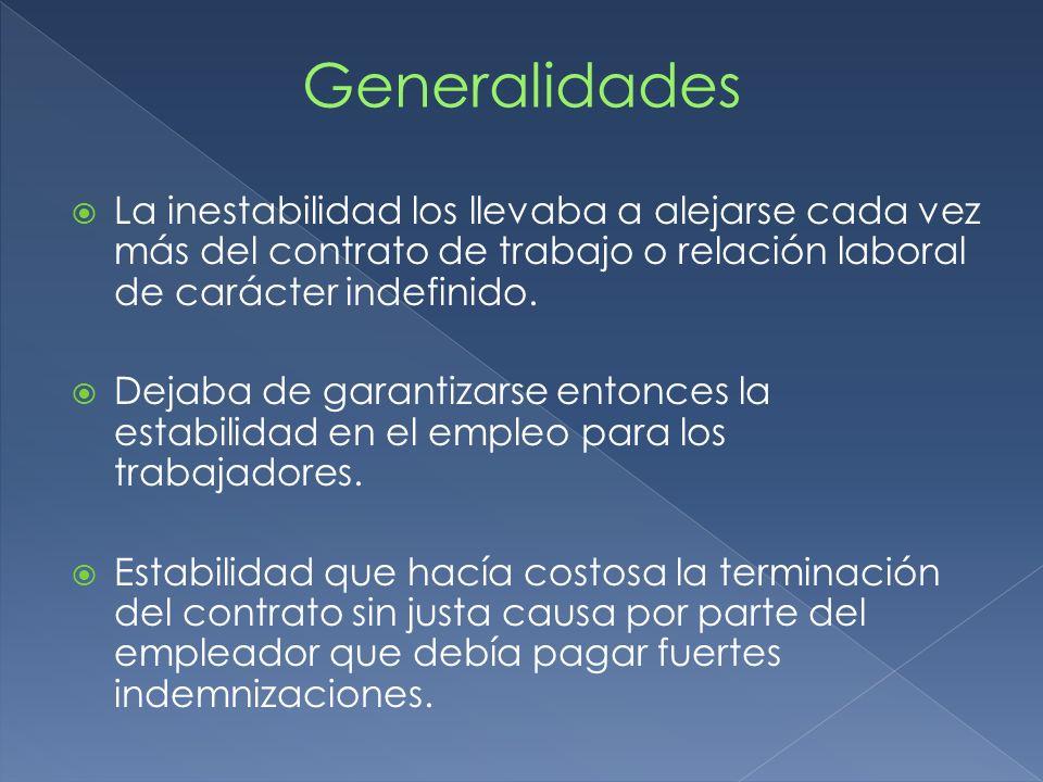 Generalidades La inestabilidad los llevaba a alejarse cada vez más del contrato de trabajo o relación laboral de carácter indefinido.