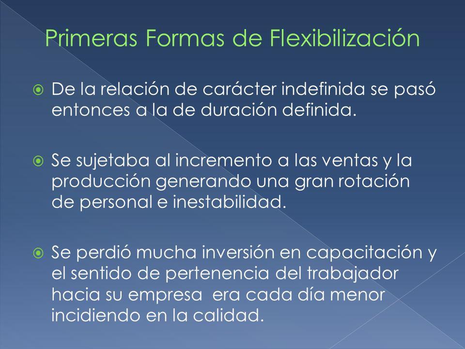 Primeras Formas de Flexibilización