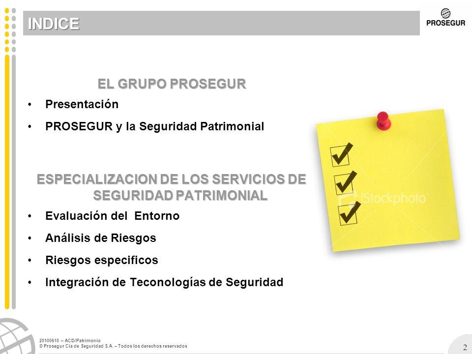ESPECIALIZACION DE LOS SERVICIOS DE SEGURIDAD PATRIMONIAL
