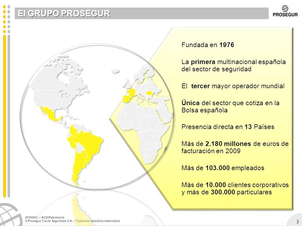El GRUPO PROSEGUR Fundada en 1976