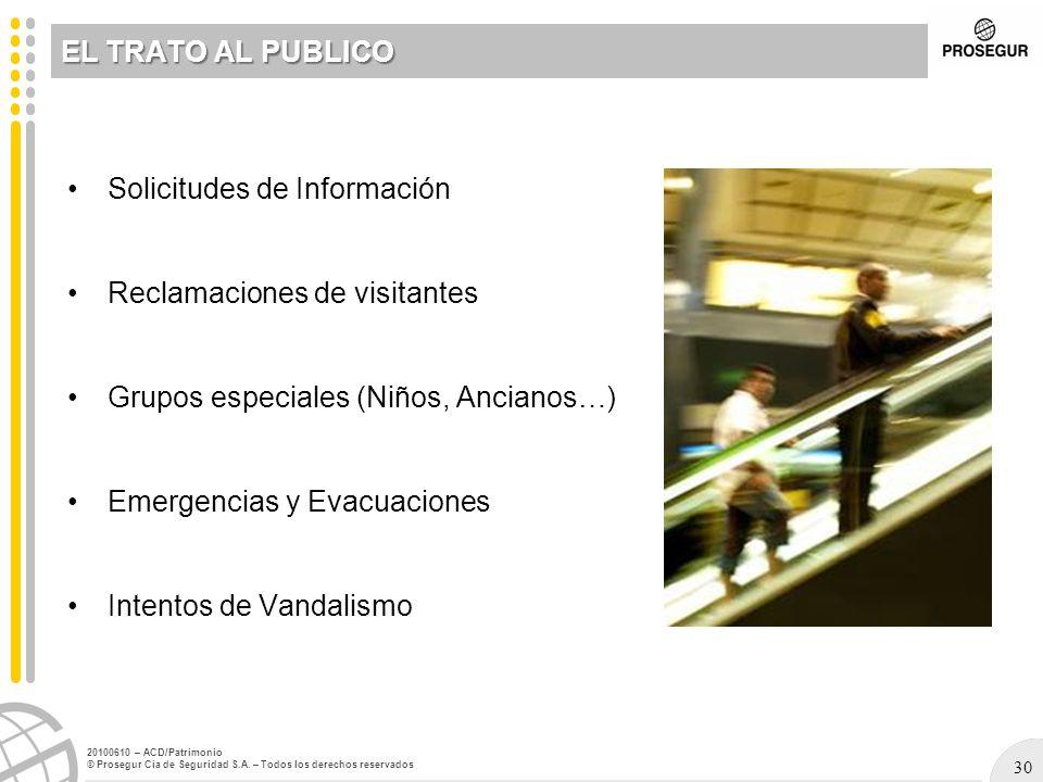 EL TRATO AL PUBLICO Solicitudes de Información. Reclamaciones de visitantes. Grupos especiales (Niños, Ancianos…)