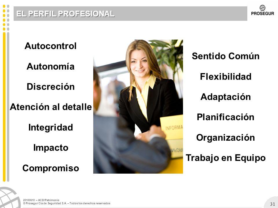 EL PERFIL PROFESIONAL Autocontrol Autonomía Discreción Atención al detalle Integridad Impacto Compromiso