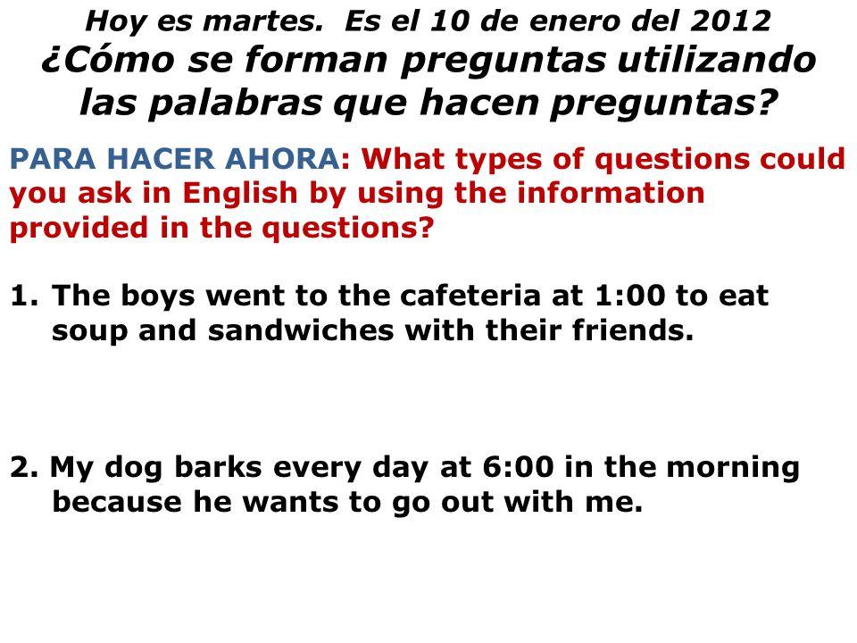 ¿Cómo se forman preguntas utilizando las palabras que hacen preguntas
