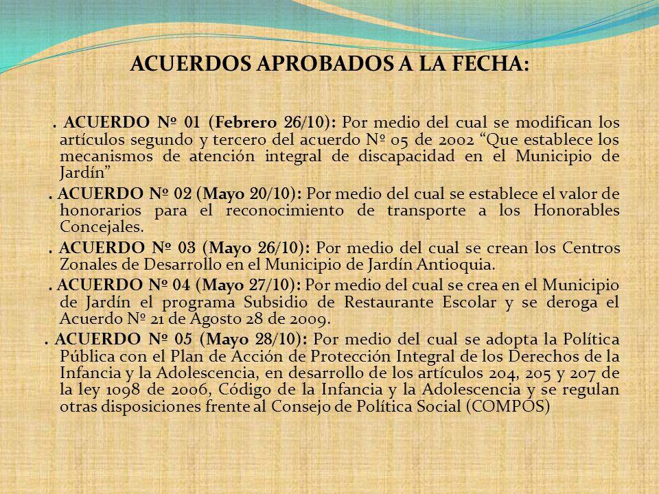 ACUERDOS APROBADOS A LA FECHA: