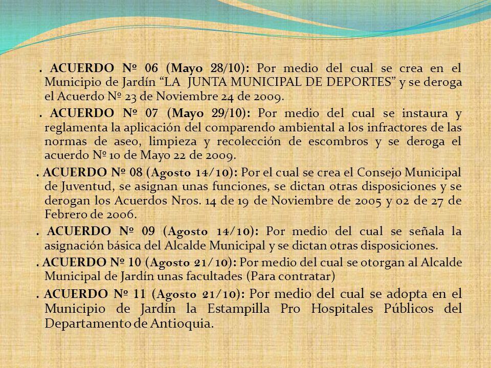 ACUERDO Nº 06 (Mayo 28/10): Por medio del cual se crea en el Municipio de Jardín LA JUNTA MUNICIPAL DE DEPORTES y se deroga el Acuerdo Nº 23 de Noviembre 24 de 2009.