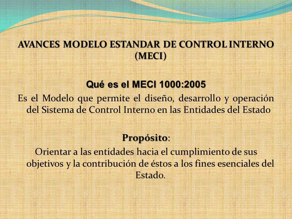 AVANCES MODELO ESTANDAR DE CONTROL INTERNO (MECI) Qué es el MECI 1000:2005 Es el Modelo que permite el diseño, desarrollo y operación del Sistema de Control Interno en las Entidades del Estado Propósito: Orientar a las entidades hacia el cumplimiento de sus objetivos y la contribución de éstos a los fines esenciales del Estado.