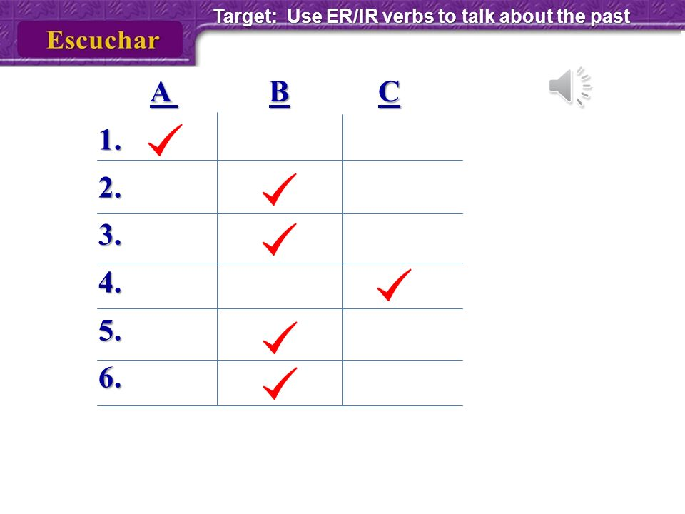 Target: Use ER/IR verbs to talk about the past