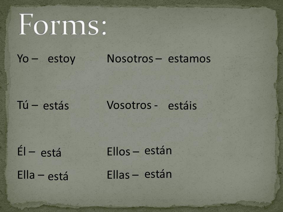 Forms: Yo – Nosotros – Tú – Vosotros - Él – Ellos – Ella – Ellas –