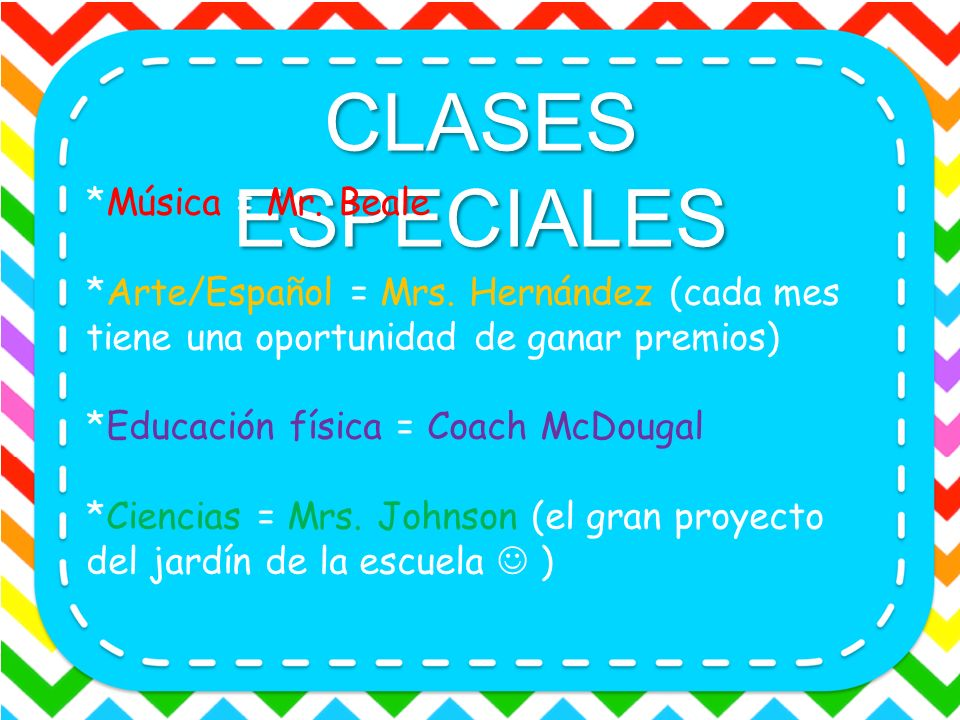 CLASES ESPECIALES *Música = Mr. Beale