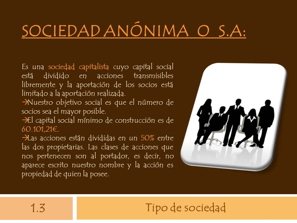 Sociedad anónima o S.A: 1.3 Tipo de sociedad