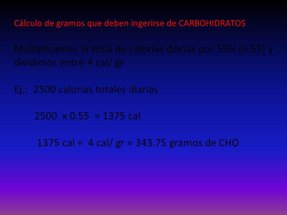 Ej.: 2500 calorías totales diarias 2500 x 0.55 = 1375 cal