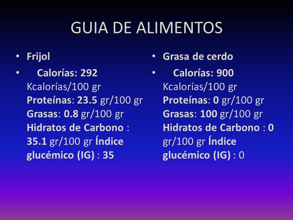 GUIA DE ALIMENTOS Frijol