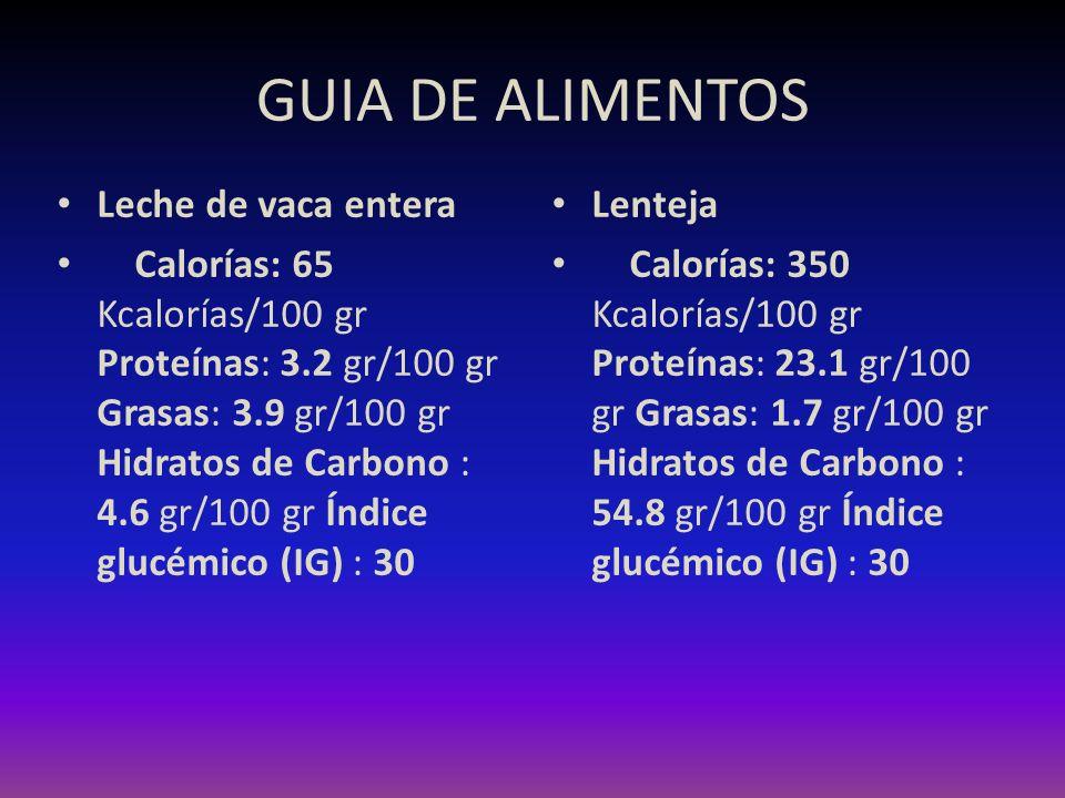 GUIA DE ALIMENTOS Leche de vaca entera