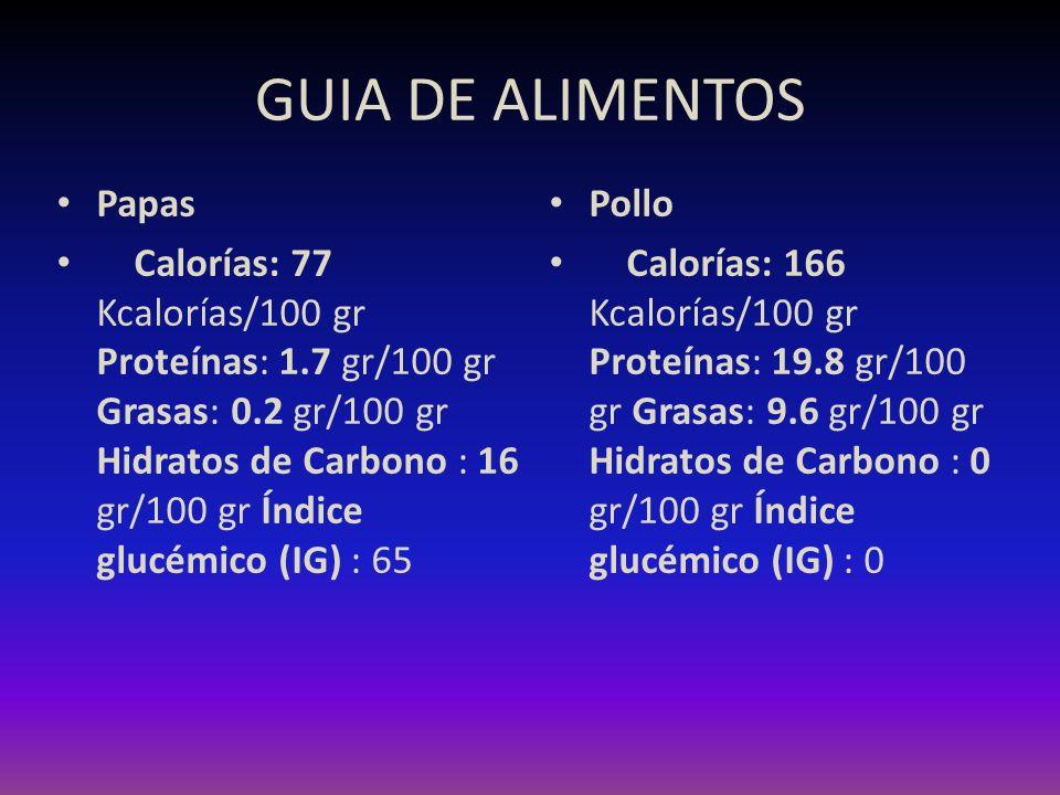 GUIA DE ALIMENTOS Papas