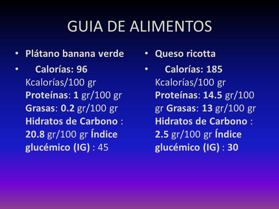 GUIA DE ALIMENTOS Plátano banana verde