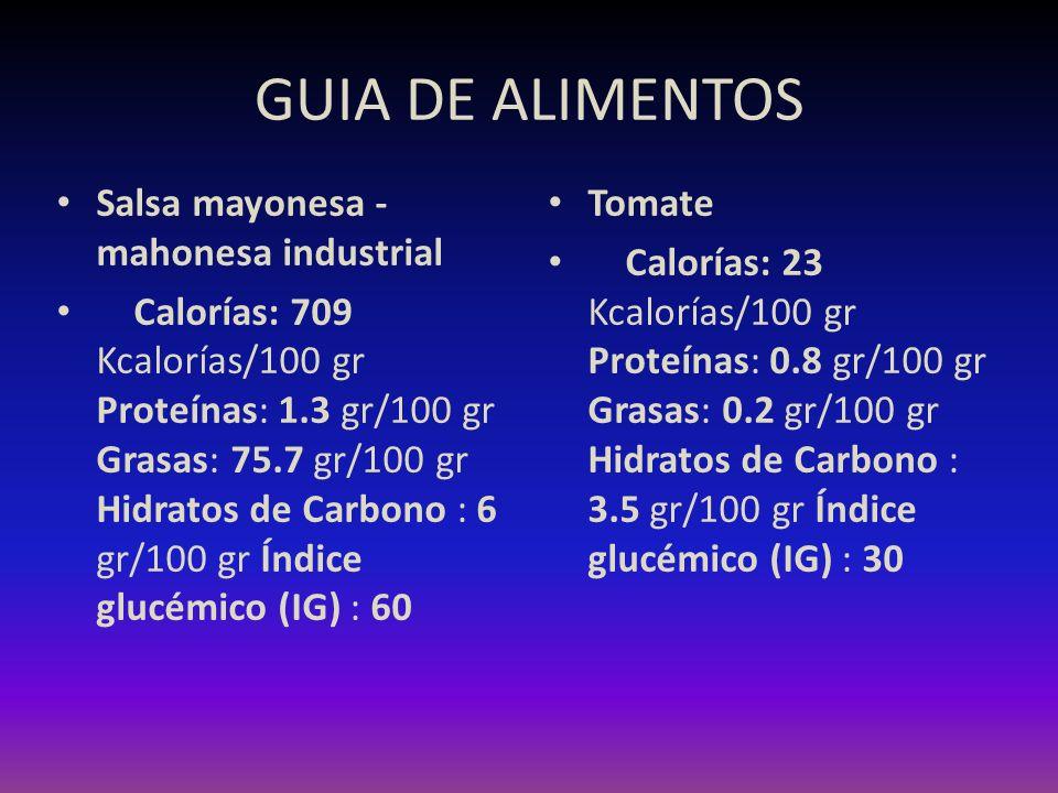 GUIA DE ALIMENTOS Salsa mayonesa - mahonesa industrial