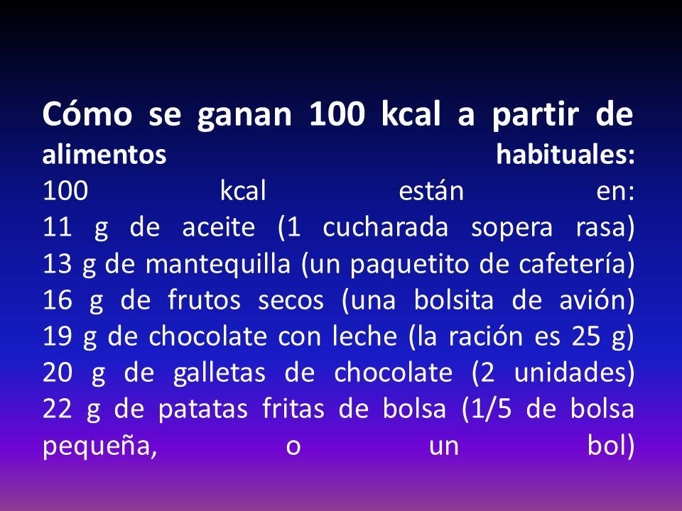 Cómo se ganan 100 kcal a partir de alimentos habituales: 100 kcal están en: 11 g de aceite (1 cucharada sopera rasa) 13 g de mantequilla (un paquetito de cafetería) 16 g de frutos secos (una bolsita de avión) 19 g de chocolate con leche (la ración es 25 g) 20 g de galletas de chocolate (2 unidades) 22 g de patatas fritas de bolsa (1/5 de bolsa pequeña, o un bol)