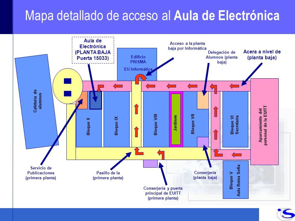 Mapa detallado de acceso al Aula de Electrónica