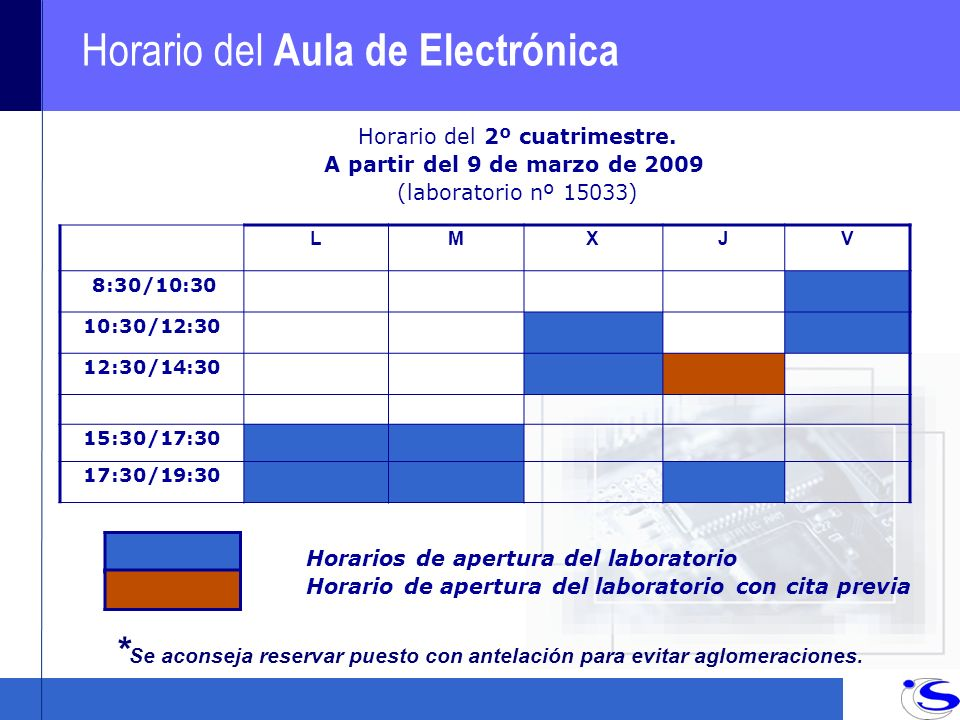 Horario del Aula de Electrónica