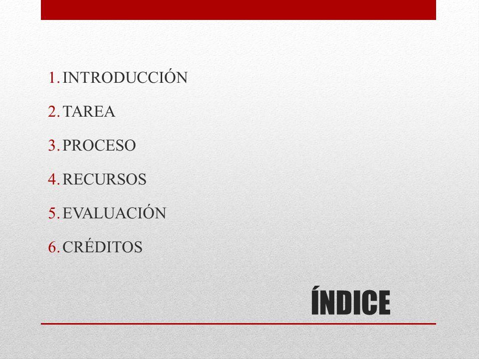 INTRODUCCIÓN TAREA PROCESO RECURSOS EVALUACIÓN CRÉDITOS ÍNDICE