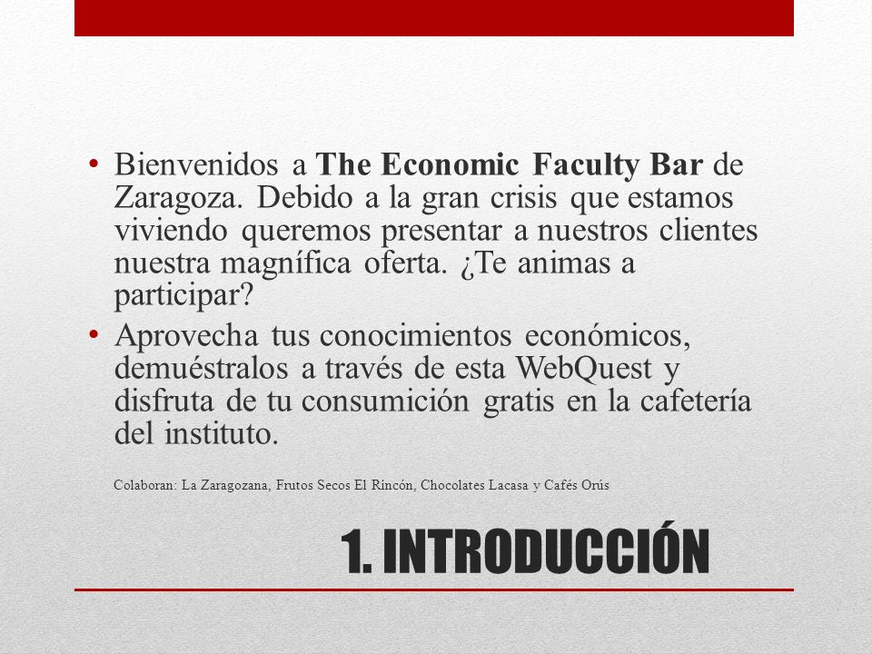 Bienvenidos a The Economic Faculty Bar de Zaragoza