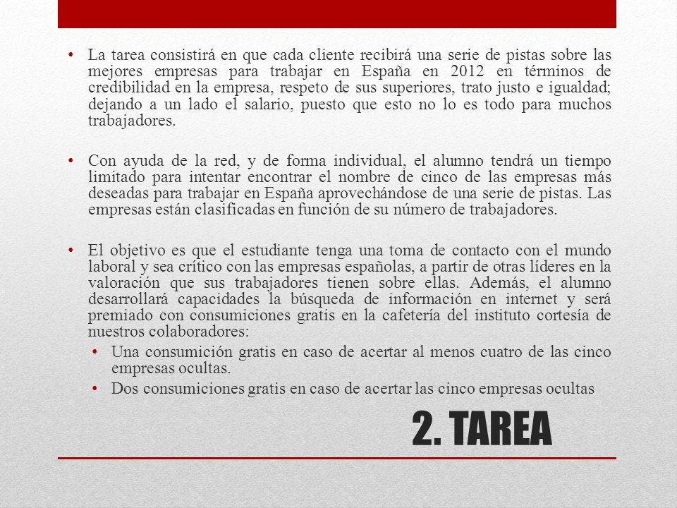 La tarea consistirá en que cada cliente recibirá una serie de pistas sobre las mejores empresas para trabajar en España en 2012 en términos de credibilidad en la empresa, respeto de sus superiores, trato justo e igualdad; dejando a un lado el salario, puesto que esto no lo es todo para muchos trabajadores.