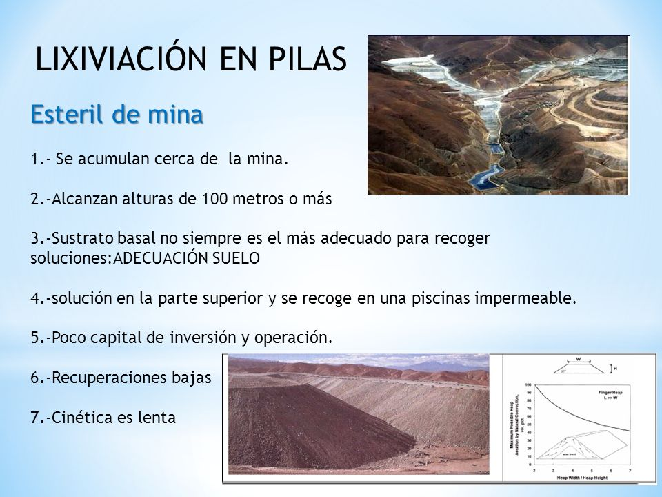 Esteril de mina LIXIVIACIÓN EN PILAS 1.- Se acumulan cerca de la mina.