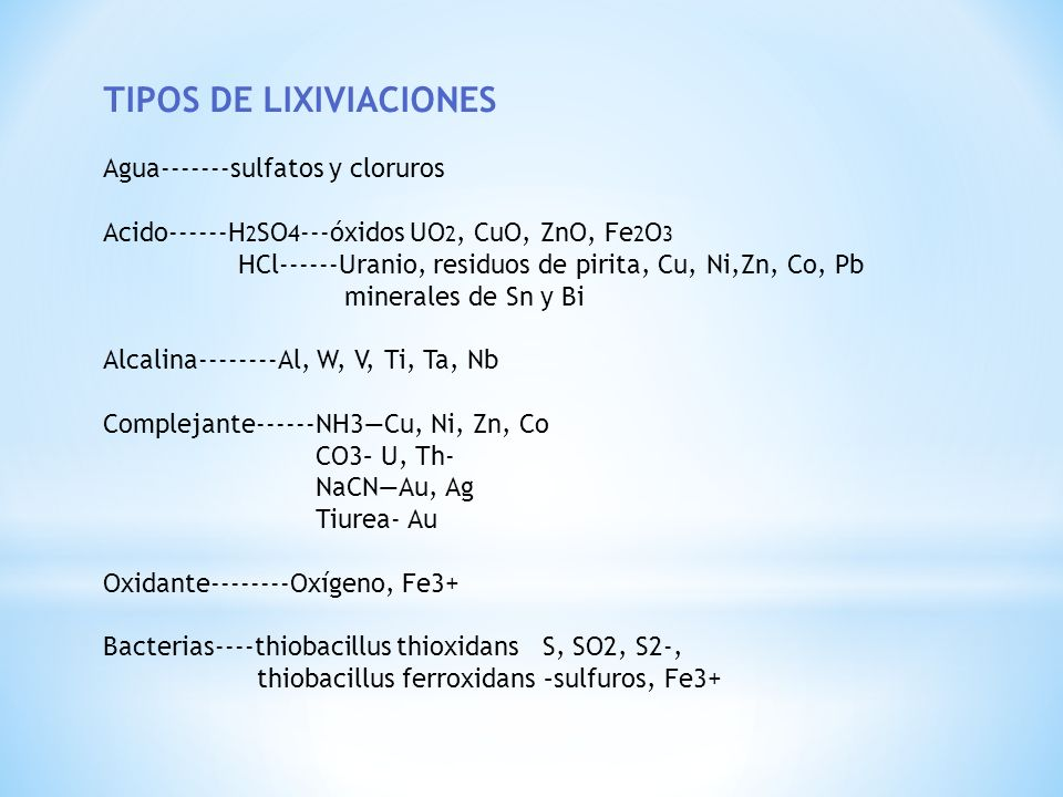 TIPOS DE LIXIVIACIONES