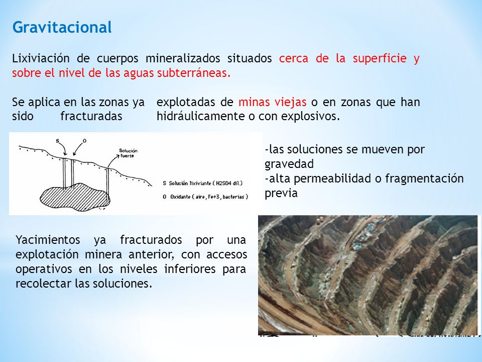GravitacionalLixiviación de cuerpos mineralizados situados cerca de la superficie y sobre el nivel de las aguas subterráneas.