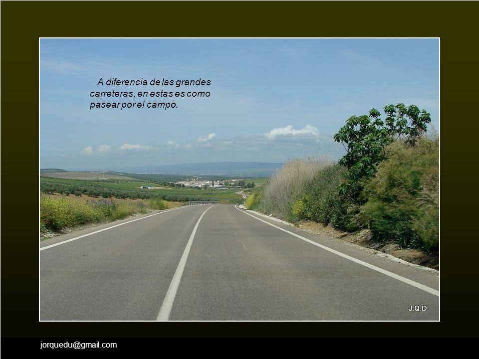 A diferencia de las grandes carreteras, en estas es como pasear por el campo.