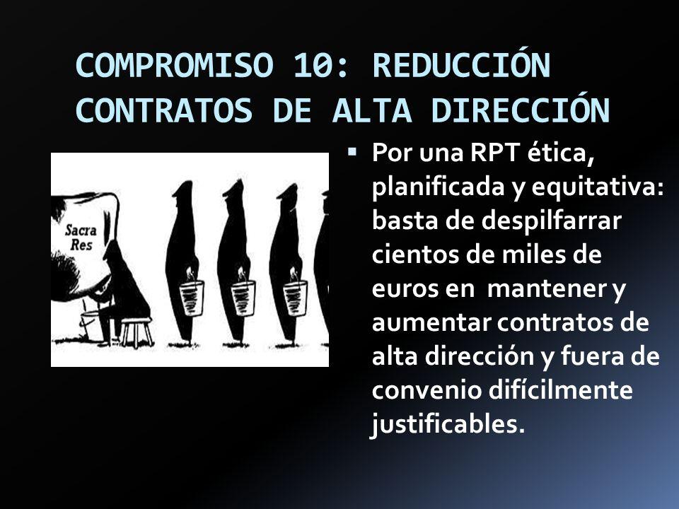 COMPROMISO 10: REDUCCIÓN CONTRATOS DE ALTA DIRECCIÓN