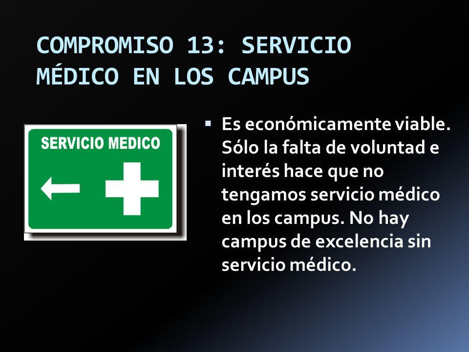 COMPROMISO 13: SERVICIO MÉDICO EN LOS CAMPUS
