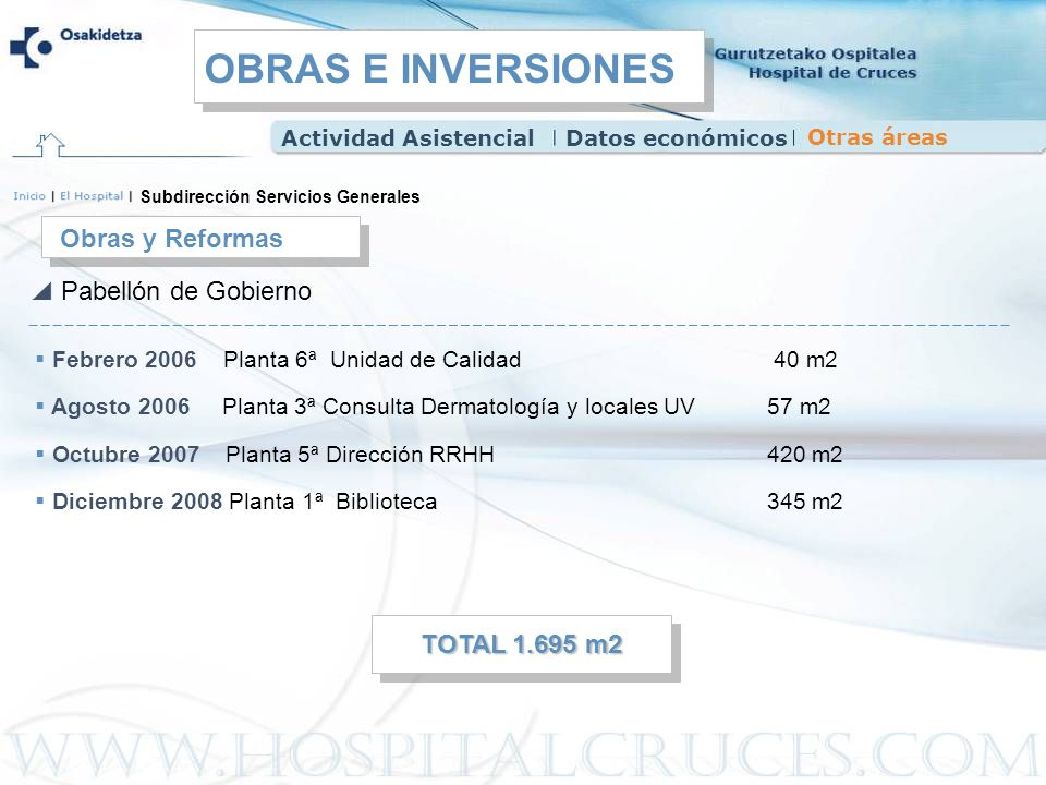 OBRAS E INVERSIONES Obras y Reformas Pabellón de Gobierno