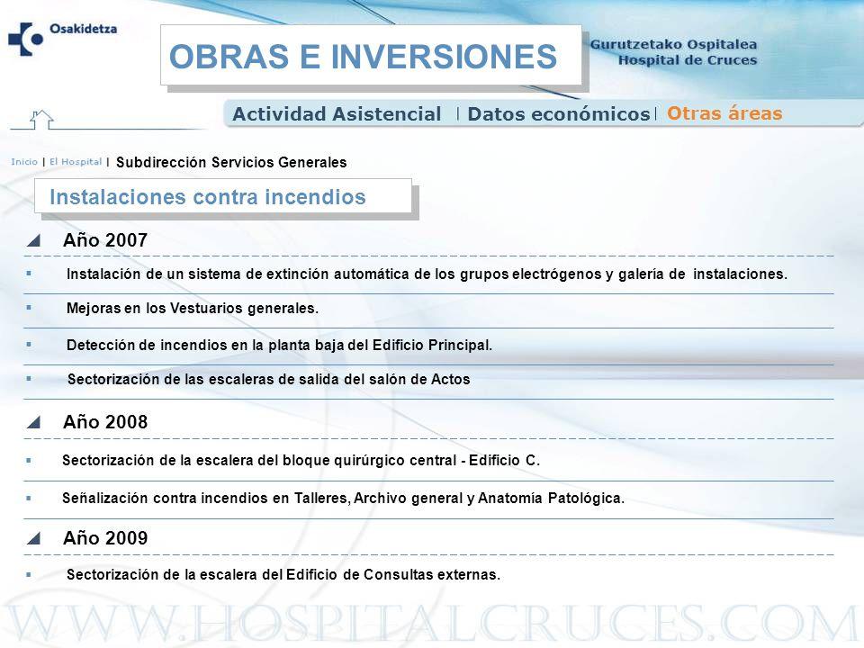 OBRAS E INVERSIONES Instalaciones contra incendios Año 2007 Año 2008