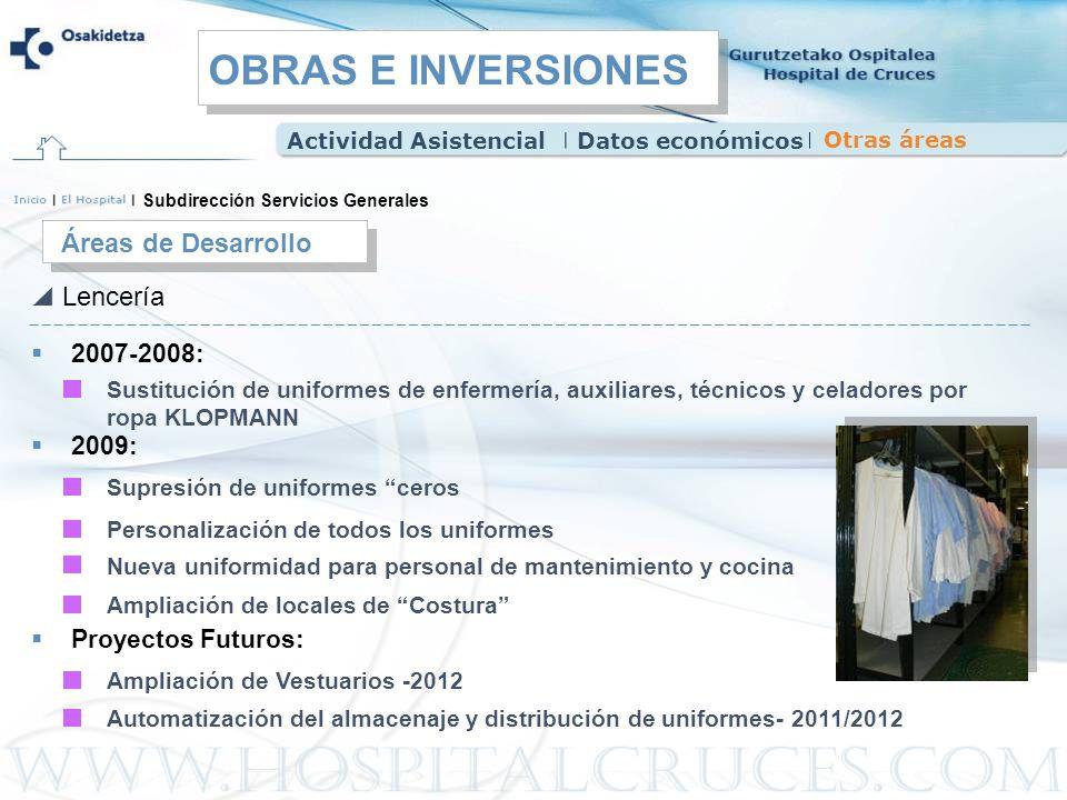 OBRAS E INVERSIONES Áreas de Desarrollo Lencería 2007-2008: 2009: