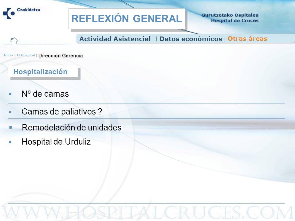 REFLEXIÓN GENERAL Remodelación de unidades Hospitalización Nº de camas
